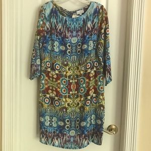 NWT Adore Colorful Abstract 3/4 Sleeve Shift w/Zip